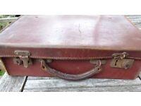 Vintage Suitcase brown -stamped 'real cowhide' 14 x 9 x 4.5 '' approx