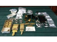 COLLECTION OF CABINET FIXINGS, BRASS HINGES ETC.