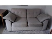 Double sofa bed comfy chic woven tweed fabric light use neutral colour