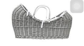 Grey Pod Wicker Moses basket