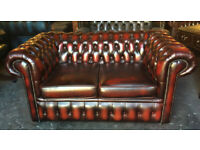 Oxblood leather Chesterfield 2 seater sofa...choice of 2