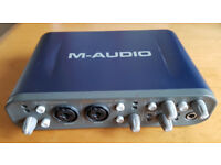 M-Audio Fast Track Pro audio USB interface for Mac or PC. 1/4 inch, XLR and MIDI