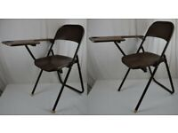 2 x School Lecture vintage fold a bye metal folding chairs Retro Industrial