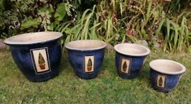 Glazed Ceramic Pots with Tree Motif: Matched Vintage set of four