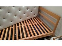 Habitat Tatsuma Double Bed Oak Frame with new Mattress & matching bed side table