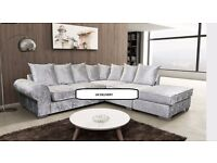 BRAND NEW, ROYAL CRUSHED VELVET CORNER SOFA, AVAILABLE IN 2 COLOURS: UK DELIVERY