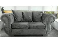 Modern 3+2 crushed velvet sofa set Silver