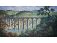 Calstock Viaduct in Cornwall Acrylic painting on canvas board