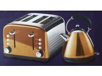 NEW KITCHEN COLLECTION STAINLESS STEEL 4 WIDE SLICE TOASTER & 1.7L KETTLE - COPPER £30
