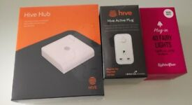 Brand NewUnopened - Hive hub with Hive active plug and a limited edition Christmas lights