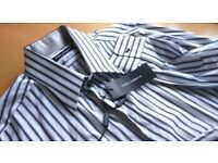 DOLCE & GABBANA: DESIGNER MENS SHIRT STRIPED COTTON & SILK:XL COLLAR 18 CHEST 48