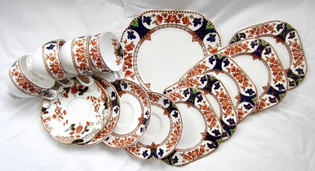 Crown Douglas Tea Servicein Sale, ManchesterGumtree - Crown Douglas tea service comprising of 1 Cake plate x 5 Side plates x 4 Saucers x 4 Cups. One Saucer different but matching colours. Highly decorative china tea set for Home deco Imari pattern. Marked on the back per each piece ( the last photo )...