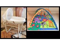 Mamas and papas Moses basket with white rocking stand and Baby play gym