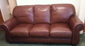 Brown leather sofa couch three piece suite and chair