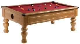 Walnut Turned Leg Pool Table / Snooker Table (7x4 Slate Bed)