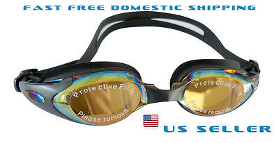 Black Swimming Goggles Non-Fogging Anti UV Adjustable Swim Glasses