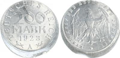 Inflationszeit 200 Mark 1923A ca. 15% dezentriert,ohne Riffelrand ss-vz,Kratzer