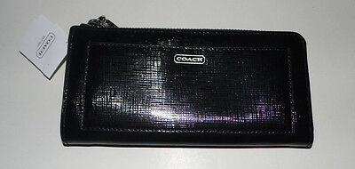 NWT Black COACH DARCY Saffiano Leather Slim Zippered Accordion Wallet, # 50438