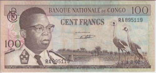 CONGO BANKNOTE P6-5119 100 FRANCS  1.3-62  FINE