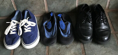 Lot of 3 Pair Shoes OLD NAVY, WATERSHOES, Black Dress Shoes Boys  kids size 12