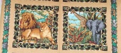 1/2 Yd Wild Life Fabric Pillow Panel Out of Africa Jungle Elephant Lion -