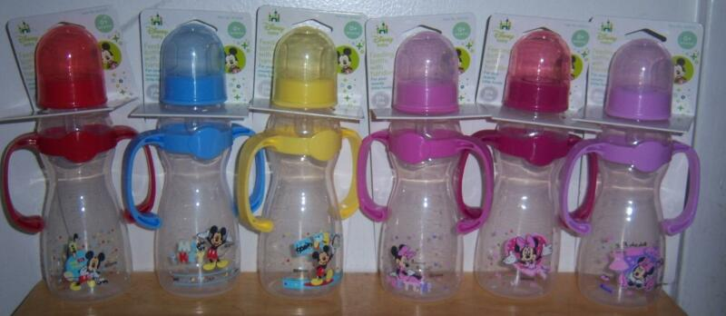 DISNEY MICKEY MOUSE OR MINNIE MOUSE 8oz BOTTLE WITH HANDLES