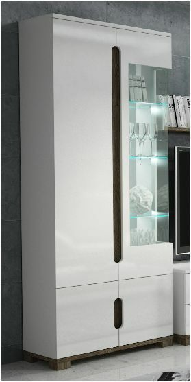 Lorenz high gloss white sideboard tv unit tall display for White gloss tall kitchen units
