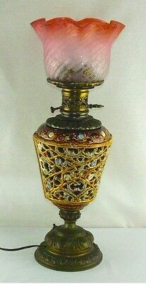 Antique circa 1880 Reticulated Majolica Metal Glass Electrified Oil Table Lamp