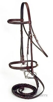 English Show Bridle - Reins - Braided Raised Leather - Havana Brown - Full Horse