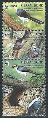 Sierra Leone  1994   sc#1738 WWF Birds strip  MNH**  2016 scott value $5