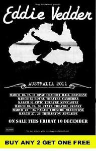 EDDIE VEDDER 2011 Australian  Laminated  Tour Poster