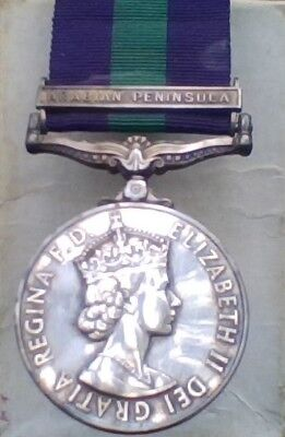 British RAF General Service Medal with Arabian Peninsula Clasp  Pre-Owned, used for sale  Bainsville