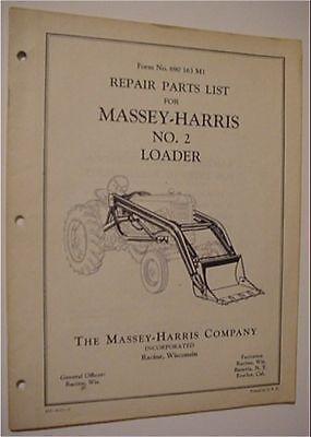 Original O.e.m. Massey Harris No. 2 Front End Loader Parts Manual