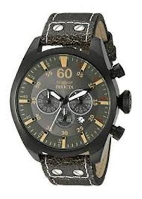 Invicta Aviator Japanese Quartz Chronograph Leather Strap 19671 Watch NEW