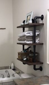 Industrial Wall Shelf with Pipes