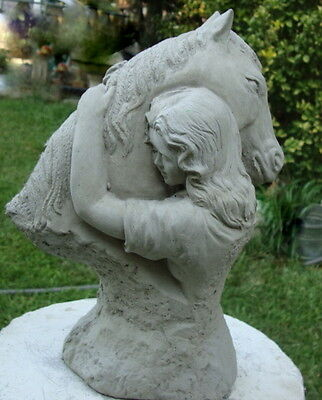 COWGIRL/LADY HUGGING HER HORSE NATURAL GRAY CEMENT CONCRETE GARDEN STATUE