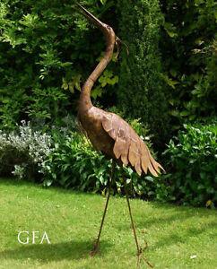 Proud Large Rusty Heron Pelican Flamingo Styled Metal Bird Garden Sculpture