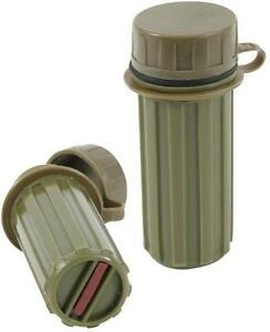 SET-OF-2-Waterproof-MATCH-BOX-Olive-Drab-Plastic-Survival-Geocache-container-NIP