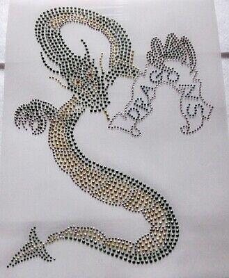 Hotfix Strass Bügelbild  Drachen Metallstuds mit Crystal 190223  Karostonebox (Märchen Drachen Kostüme)