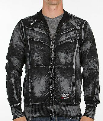 Black Zip Sweat - AFFLICTION Mens Sweat Shirt ZIP UP Jacket POWER WELD Solid BLACK Biker UFC $74