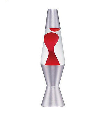 "11.5"" Accent Lava Lamp Silver Base Red Wax Lite Motion Light Liquid Vintage NEW"