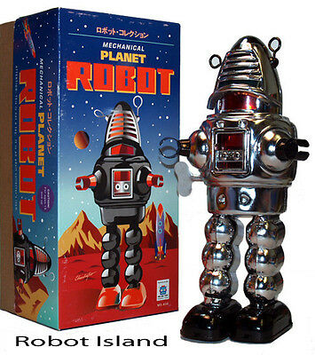 Planet Robot Chrome Schylling Tin Toy Windup Robby the Robot - Holiday SALE!