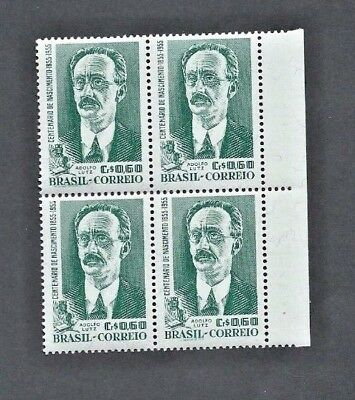 BRAZIL 1955  SG 934  Margin Block of 4 x 60c - ADOLFO LUTZ  Public Health - MNH