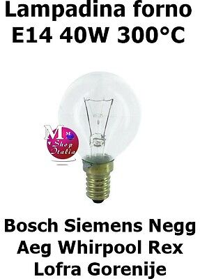 Bombilla Esfera Alta Calidad Horno Bosch Siemens AEG Rex 40W E14 300°C...