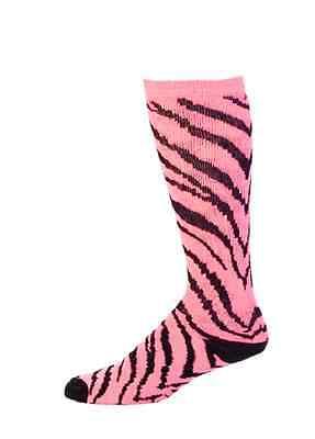 Pizzazz 8090AP Neon Pink And Black Medium Zebra Striped Knee High Socks  - Neon Pink Knee High Socks