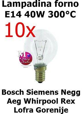 10 Bombillas Originales Esfera Horno Bosch Siemens AEG Rex 40W E14 300°C...