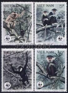 Vietnam 1987 Mi 1827-30 ** WWF Animals Pets Tiere Monkeys Affe Chimpanzee Małpy - Dabrowa, Polska - Vietnam 1987 Mi 1827-30 ** WWF Animals Pets Tiere Monkeys Affe Chimpanzee Małpy - Dabrowa, Polska