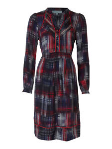 Dickins-Jones-Red-Black-Check-Printed-100-Silk-Dress-8-10-12-14-16-18-NEW