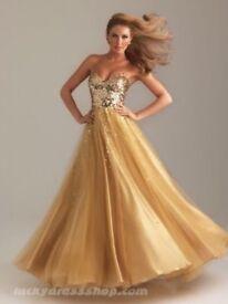 Gold Sequin Princess Prom Dress