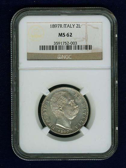 ITALY KINGDOM 1897-R  2 LIRE COIN, UNCIRCULATED, NGC CERTIFIED MINT STATE MS62!